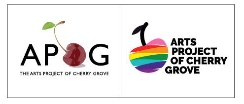 Before and after of Langton Creative logo designs for Arts Project of Cherry Grove